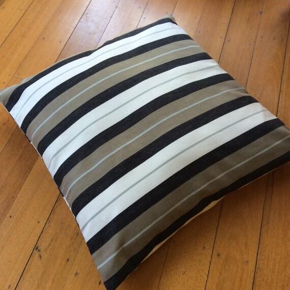 X-Large 69cm x 69cm Unisex Floor Cushion , Taupe, Cream and Steel Striped