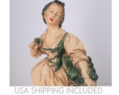 """Borghese Hand Painted 12 Inch Chalkware Statue """"Peasant Gatherer"""""""