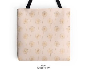 Dandelion Tote Bag, Pink, Gift for Her, NewSerenityStudio