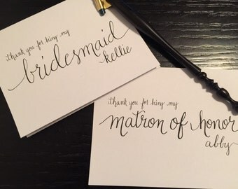 Personalized thank you card for bridesmaid