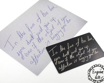 Customized Engraved Etching Steel Wallet Insert Card Custom Real Handwritten Autograph, Signuature, Your Kids Doodle