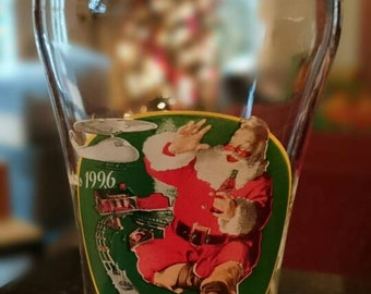 1996 Coca Cola Christmas Train Glass