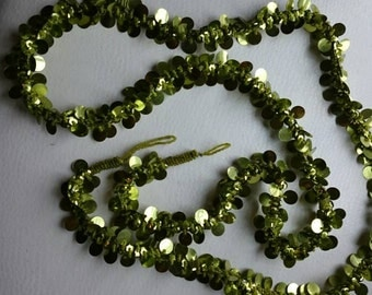 Garland of Dark Green Beads & Sequins/Avocado Green/ 71 inches long