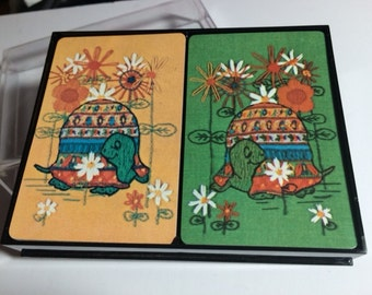 Sale! Vintage Double Deck Heines House Playing Cards, Turtle Design
