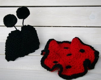 LADYBUG Knit Hat and Tooshie Topper for Newborn Photo Shoots