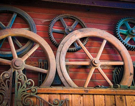 Foundry, Wheels, Wood Print, Abandoned, Rust, Wall Art, Pittsburgh, Pennsylvania, Industrial, Machine Shop