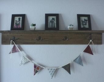 Wood shelf with hooks