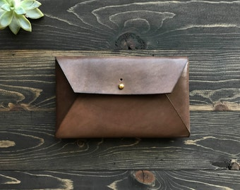 SALE 10% OFF!! Leather envelope clutch, Leather envelope wallet, Leather envelope pouch, Leather mail clutch, Leather envelope case