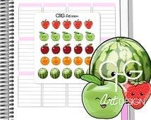25 Kawaii Fruit Stickers in 5 designs | Planner Erin Condren Plum Planner Filofax Sticker