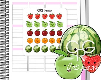 Kawaii Fruit Stickers | Planner Erin Condren Plum Planner Filofax Sticker