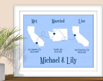 State Art, Met Married Live - Personalized Important Dates, Special dates, Custom State Art. Printable. All States & Countries available