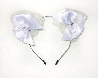 White Bow Kitten Ears