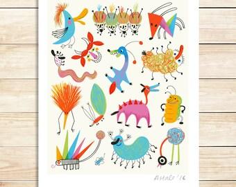 Monsters Art Print Kids Decor