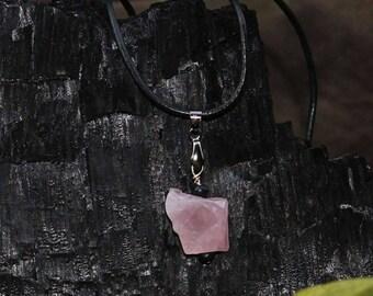 Rustic rose quartz necklace