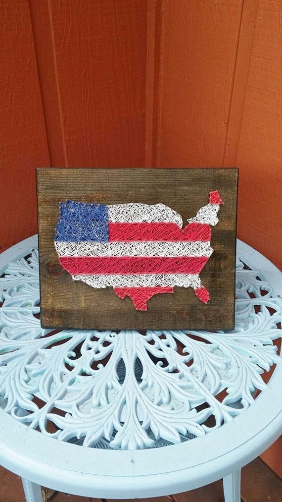 Patriotic american flag string art made to by for Patriotic welcome home decorations