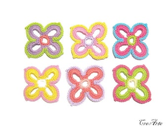 Crochet flower appliques, Set of 6 crochet flower, Colorful flowers, Applicazioni fiori (Cod. 28)