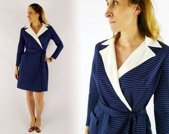 Navy Blue Polka Dot Wrap Around Dress Medium