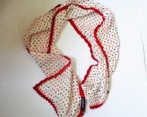 Polka Dot Long Scarf, Passigatti Silk Scarf, Polka Dot Silk Scarf, Red White Black Scarf, Rectangular scarves