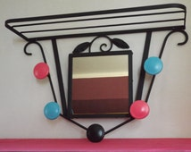 Mirror hanger in iron forged vintage / old hand mirror / coat vintage / hooks vintage / vintage metal furniture
