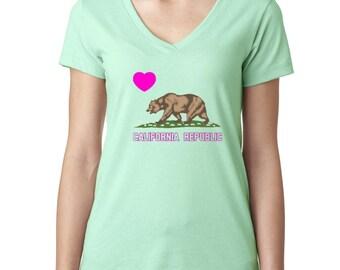 Heart California Republic Ladies V-Neck Tshirt