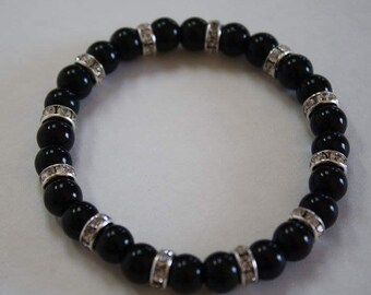 Black Rhinestone Pearl Bracelet, Black Pearl Bracelet, Wedding Bracelet, Pearl Bracelet
