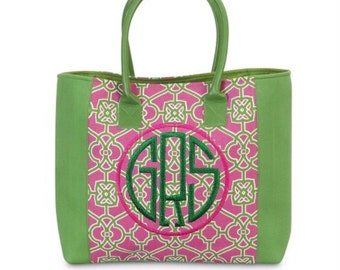 Preppy Pink  and Green Eva Tote