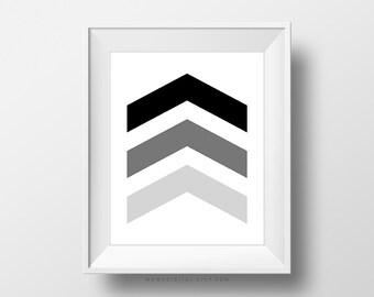 SALE -  Black Arrows, Modernism, Contemporary Poster, Fine Wall Art Print, Office Decoration, Dorm Idea, Black Ombre, Grey, Shapes