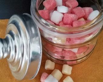 100 mini heart sugar cubes in jar,organic sugar cubes,wedding gift