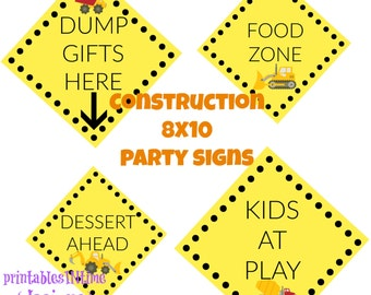 Construction Party Signs- Birthday Party Signs- boy birthday - INSTANT DOWNLOAD