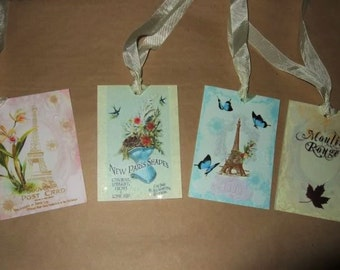 EIGHT Vintage Shabby Chic French Paris Eiffel Tower Hang / Gift Tags