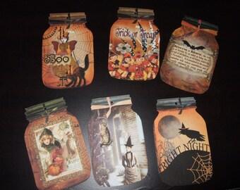 SIX Vintage Halloween Mason Jar Hang tags / Gift tags