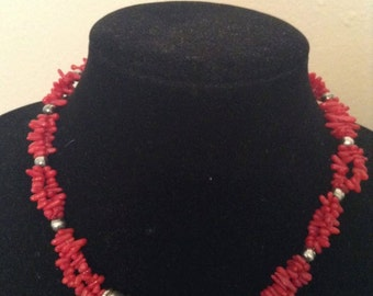 Black Onyx and Red Coral Sterling Silver Necklace