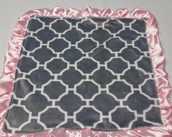 Minky Security Blanket-Baby Sensory Blanket-Baby Lovey Blanket-Satin Trim