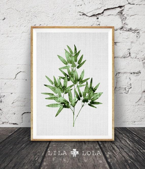 Tropical Leaves Wall Decor : Tropical leaf print decor wall art bamboo by