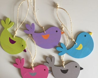 Handmade Hanging Wooden birds
