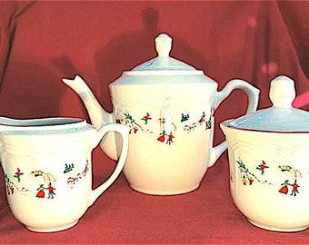 Farberware White Christmas Tea Set