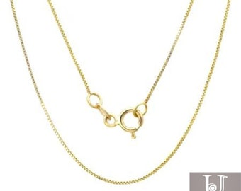 """Solid 0.8MM 10k Yellow gold Chain Necklace Box chain Pendant 16-24"""" 10kt gold"""
