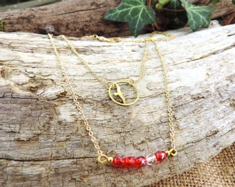 Bohemian Necklace, gold, red, bird, minimalist, liberty, faceted glass beads, love