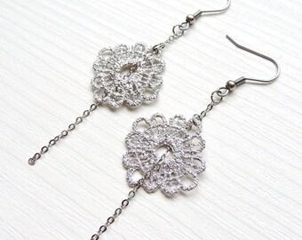 Bohemian earrings, Lace earrings, romantic, surgical steel earrings, silver, love