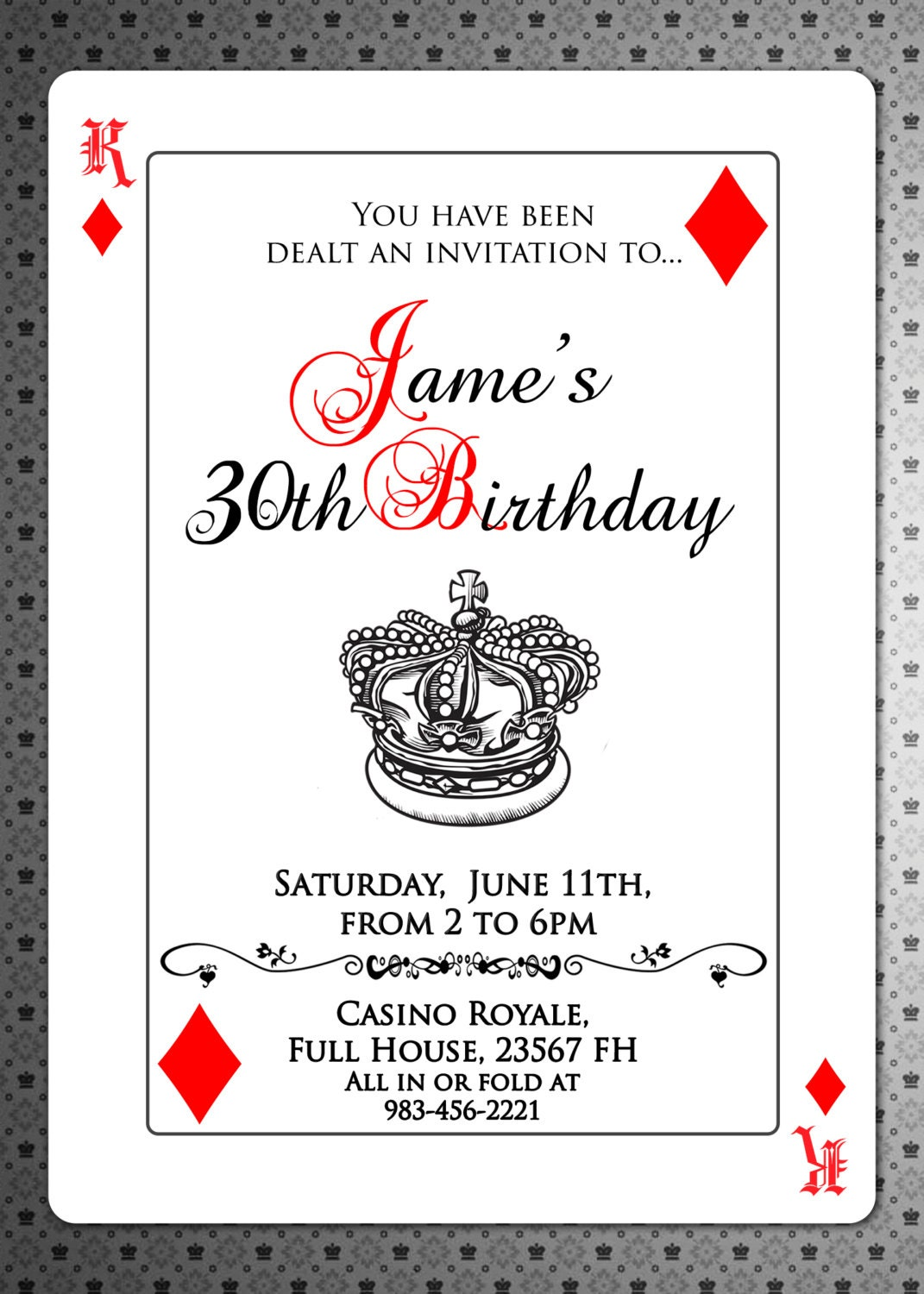 Playing Cards Invitation Poker Invite Royal Queen of hearts – Playing Card Invitation