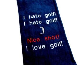 golf towel, funny golf gift, embroidered towel, gift for him, groomsmen gift, custom golf, golfer gift, personalized golf, monogram towel