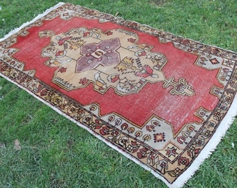 "Vintage Turkish Rug Anatolian Handmade Home Decor Area Rug Carpet, Vintage Oushak Floor Red Decorative Rug Carpet- 230x132cm,92""x53"""