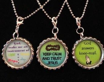 Christian Bottle Cap Necklaces