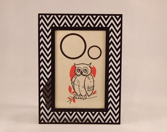 O is for Owl framed vintage flash card