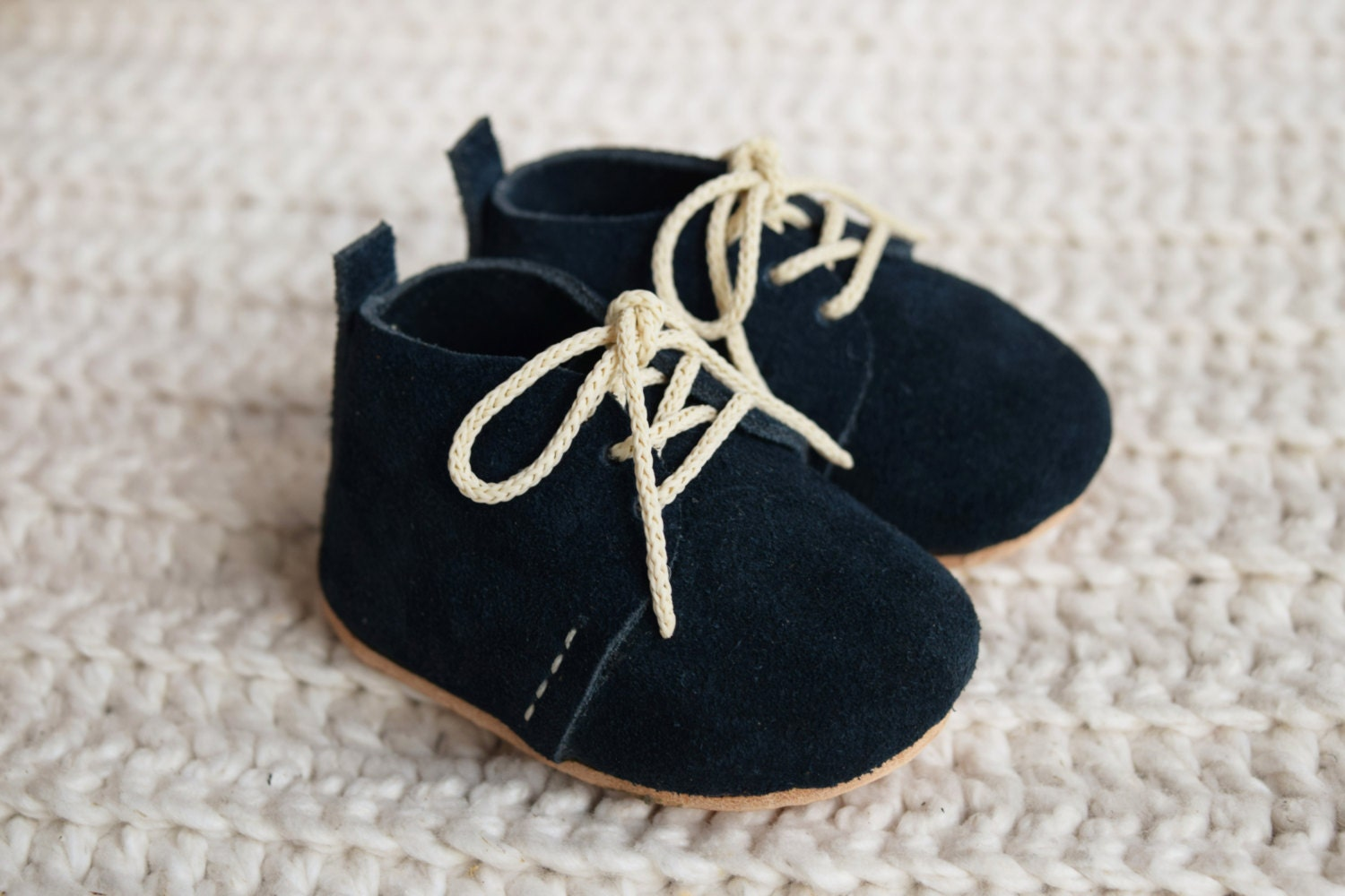 Baby Shoes Baby Moccasins Navy Blue Baby Lace Up Boots Baby