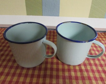 Email green with VINTAGE Green Royal Blue Contour cups With Light Blue Trim Enamelware Cups VTG old Cup Camping Rare Peacock