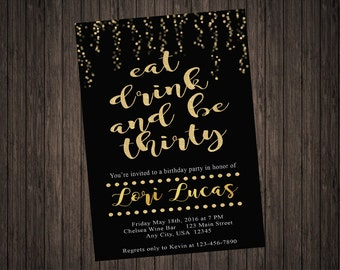 Eat Drink and Be Thirty Glitter Birthday Invitation