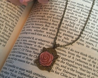 Rose Victorian Brass Pink Romantic Antique Charm Necklace