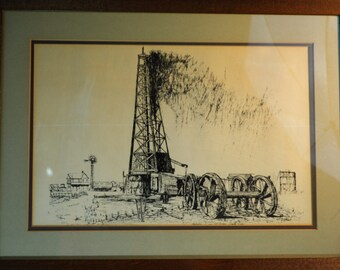Mid Century, Pen and Ink Art, Original, Oil Well Art, Signed Art, Picards