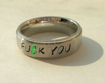 F-ck You Ring, MATURE, Offensive Jewelry, Offensive Ring, Steel, Offensive, Vulgar, Vulgar Jewelry, Funny Jewelry, fuck you, Vulgar Ring